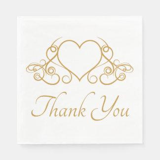 Elegant Gold Thank You Heart Wedding Party Love Disposable Napkins