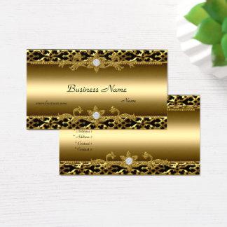 Elegant Gold Trim Black Diamond Jewel Business Card