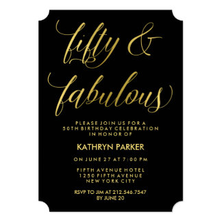 "Elegant Gold Typography 50th Birthday Party 5"" X 7"" Invitation Card"