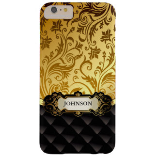 Elegant Gold Vintage Shadow Damask Black Diamond Barely There iPhone 6 Plus Case