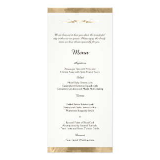 Elegant Gold Watercolor Wedding Menu Custom Rack Cards