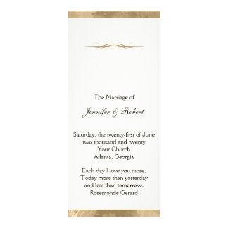 Elegant Gold Watercolor Wedding Program Rack Cards