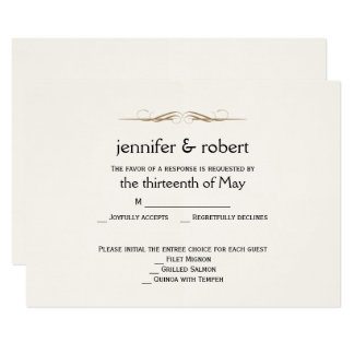 Elegant Gold Watercolor Wedding Response Card