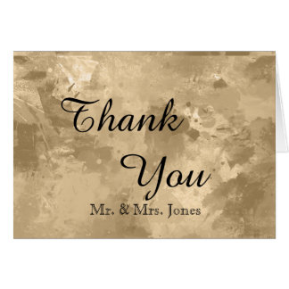 Elegant Gold Watercolor Wedding Thank You Card