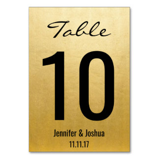 Elegant Gold Wedding Table Numbers Cards Templates Table Card