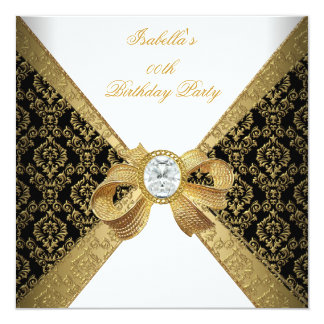 "Elegant Gold White Diamond Black Birthday Party 5.25"" Square Invitation Card"