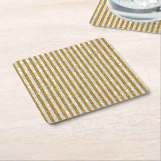Elegant Gold White Stripes Glitter Photo Print Square Paper Coaster