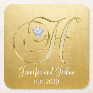 Elegant Gold White Wedding Heart Monogram H Square Paper Coaster