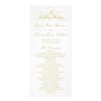 Elegant Gold & White Wedding Program Template