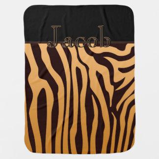 Elegant Gold Zebra Baby Boy Receiving Blanket
