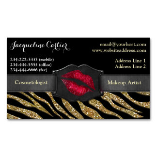 Elegant Gold Zebra Glitter Kiss Cosmetologist Magnetic Business Card