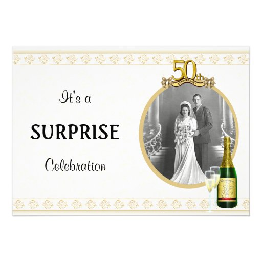 Elegant Golden 50th Anniversary Party invitations