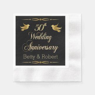 Elegant Golden 50th Wedding Anniversary Paper Napk Paper Napkins