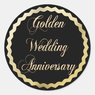 Elegant Golden 50th Wedding Anniversary Sticker