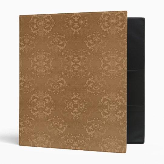 Elegant Golden Brown Damask Binder