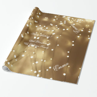 Elegant Golden Brown String of Lights Festive Chic Wrapping Paper