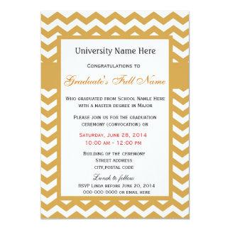 "Elegant golden chevron graduation ceremony 5"" x 7"" invitation card"