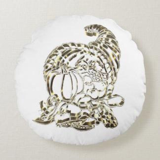 Elegant Golden Cornucopia Happy Thanksgiving Round Pillow