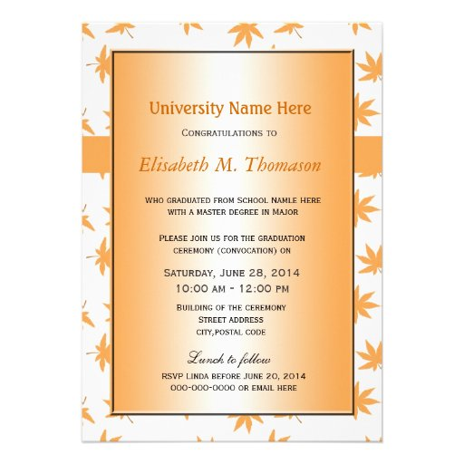 Elegant golden fall leaves graduation personalized announcements
