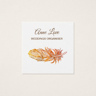 Elegant Golden feather Square Business Card