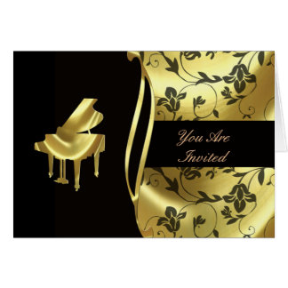 Elegant Golden Grand Piano Invitation