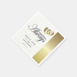 Elegant Golden Hearts Design Disposable Napkins