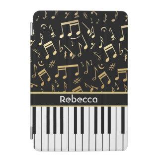 Elegant golden music notes piano keys iPad mini cover