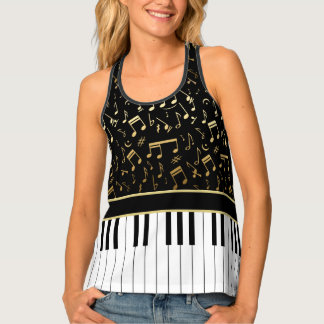 Elegant golden music notes piano keys tank top