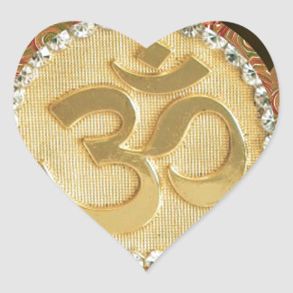 Elegant Golden OM MANTRA Chant Display Holy Symbol Heart Sticker