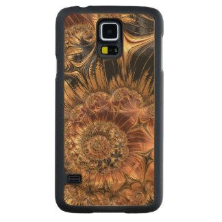 Elegant Golden Orange Cream Liquid Silk Fractal Carved Maple Galaxy S5 Case