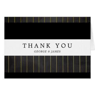 Elegant Golden Pinstripes | Thank You Card