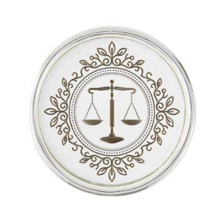 Elegant Golden Scales of Justice Lapel Pin