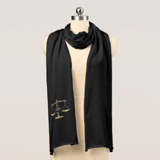 Elegant Golden Scales of Justice with Initials Scarf