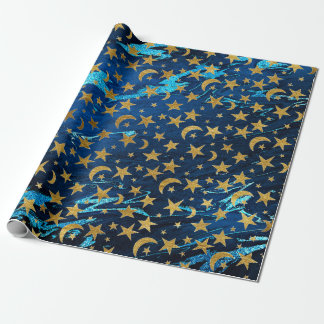 Elegant Golden Stars and Moon Blue Navy Marble Wrapping Paper