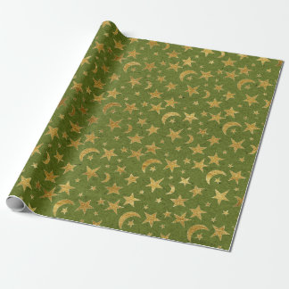 Elegant Golden Stars and Moon Olive Green Kraft Wrapping Paper