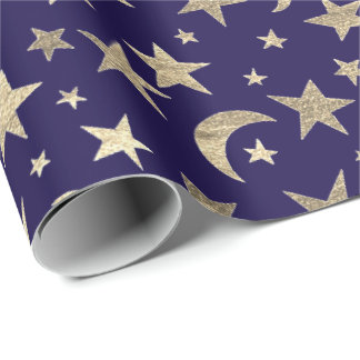 Elegant Golden Stars Moon Blue Navy Champaigne Wrapping Paper