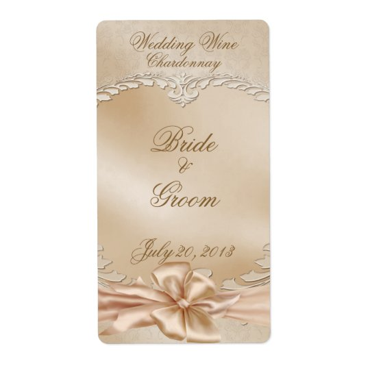 Elegant Golden Swans Wedding Wine Label