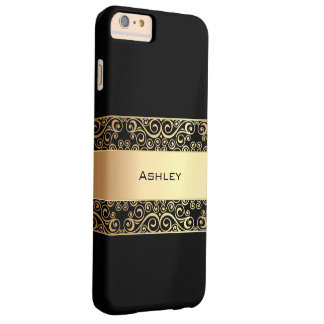 Elegant Golden Swirl Frame Barely There iPhone 6 Plus Case