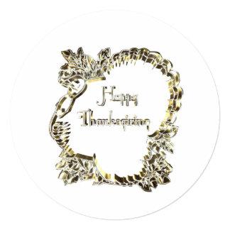 Elegant Golden Turkey Happy Thanksgiving Text Card