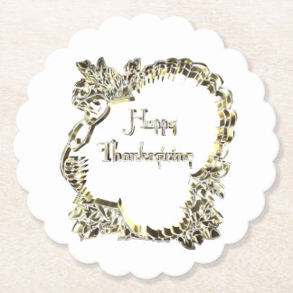 Elegant Golden Turkey Happy Thanksgiving Text Paper Coaster