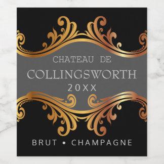 Elegant Golden Wedding Champagne Bottle Label Or