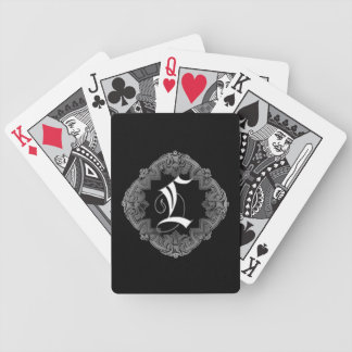 Elegant Goth Initial L Bicycle Playing Cards