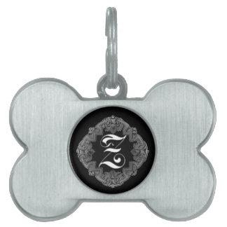 Elegant Goth Initial Z Pet Name Tag