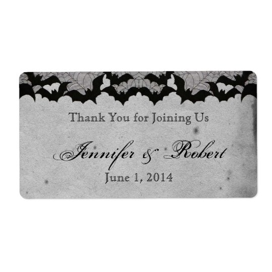 Elegant Gothic Bat Lace Posh Water Bottle Label