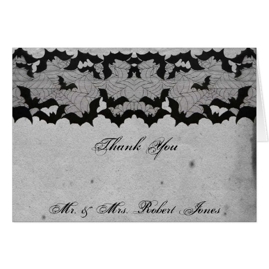 Elegant Gothic Bat Lace Posh Wedding Thank You Card