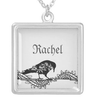 Elegant Gothic Black and White Raven Silver Plated Necklace
