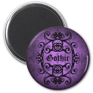 Elegant gothic damask purple and black decor magnet