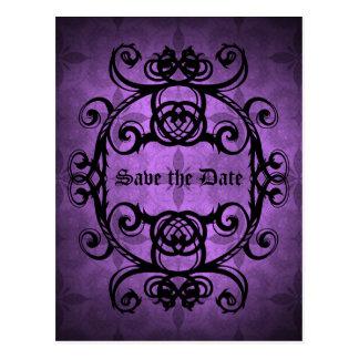Elegant gothic damask purple and black decor postcard