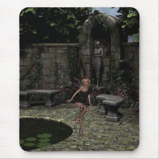Elegant Gothic Fairy in Summer Garden Mouse Pad