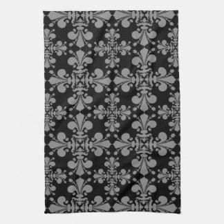 Elegant gothic fleur de lis damask black and gray kitchen towel